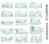nature color line landscapes... | Shutterstock . vector #671338948