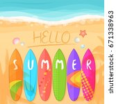 illustration of the beach with ... | Shutterstock . vector #671338963