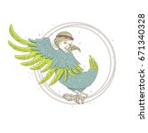 mythological bird  with woman... | Shutterstock .eps vector #671340328