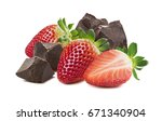 strawberry chocolate isolated... | Shutterstock . vector #671340904