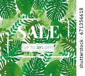 tropical leaves vector sale... | Shutterstock .eps vector #671356618