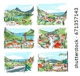 remarkable georgian landscapes... | Shutterstock .eps vector #671357143