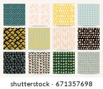 set of abstract seamless... | Shutterstock .eps vector #671357698