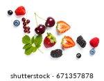 fresh berries on white... | Shutterstock . vector #671357878