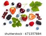fresh berries on white... | Shutterstock . vector #671357884