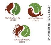 set logo ions of herbal... | Shutterstock .eps vector #671358184