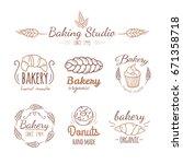 bakery logo elements. | Shutterstock . vector #671358718