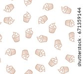hand drawn cupcakes seamless... | Shutterstock . vector #671359144