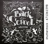 back to school lettering on... | Shutterstock .eps vector #671361598