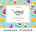 summer sale banner  poster with ... | Shutterstock .eps vector #671363038