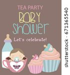 invitation card for baby shower ... | Shutterstock .eps vector #671365540