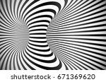 black and white round stripes... | Shutterstock . vector #671369620
