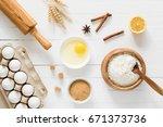 baking ingredients  flour  eggs ... | Shutterstock . vector #671373736