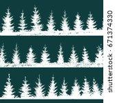 set christmas trees background. ... | Shutterstock .eps vector #671374330