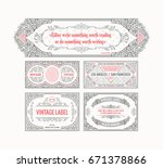 vintage set horizontal retro... | Shutterstock .eps vector #671378866