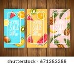summer sale vector banner... | Shutterstock .eps vector #671383288
