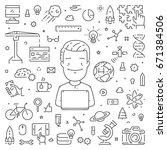 vector line concept for startup.... | Shutterstock .eps vector #671384506