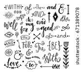 catchwords and ampersands hand... | Shutterstock .eps vector #671389078