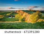 walltown crags below hadrian's... | Shutterstock . vector #671391280