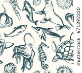 sea creatures   black and white ... | Shutterstock .eps vector #671392330