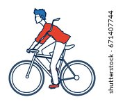 young man riding bicycle... | Shutterstock .eps vector #671407744