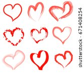 hand drawn hearts set | Shutterstock . vector #671408254