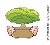human hands holding brown pot... | Shutterstock .eps vector #671408584