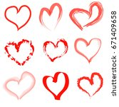 hand drawn hearts set | Shutterstock .eps vector #671409658