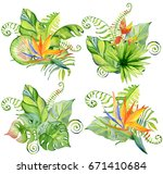 watercolor tropical leaves... | Shutterstock . vector #671410684