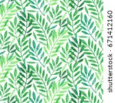 tropical palm leaves  seamless... | Shutterstock .eps vector #671412160