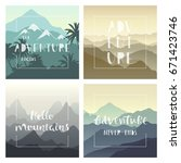 set of colorful mountain... | Shutterstock .eps vector #671423746