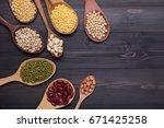 assortment of beans  mung bean  ... | Shutterstock . vector #671425258