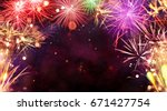 fireworks explosions isolated... | Shutterstock . vector #671427754
