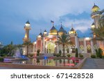 beautiful central mosque in... | Shutterstock . vector #671428528