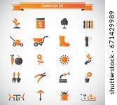 garden icon set | Shutterstock .eps vector #671429989