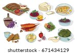 georgian cuisine. different...   Shutterstock .eps vector #671434129