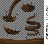 chocolate splashes set. 3d... | Shutterstock .eps vector #671435014