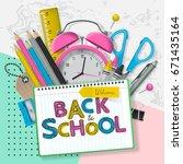back to school banner design... | Shutterstock .eps vector #671435164