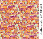Little town seamless vector pattern in doodle style. Tiny city colorful background with cartoon houses in the street. Hand drawn design texture in colors of orange, purple and yellow