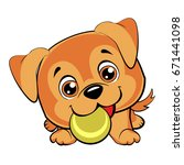 Stock vector doggy plays with a ball cute brown puppies 671441098