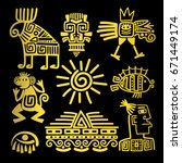maya style gold linear totem... | Shutterstock .eps vector #671449174
