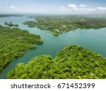 aerial view of panama canal on... | Shutterstock . vector #671452399