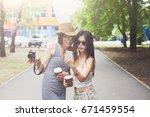 two girls friends take selfie... | Shutterstock . vector #671459554