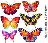 beautiful butterflies  set...   Shutterstock . vector #671464069