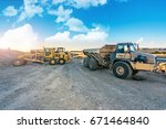 machinery on a road... | Shutterstock . vector #671464840