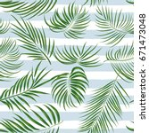 seamless hand drawn tropical... | Shutterstock .eps vector #671473048
