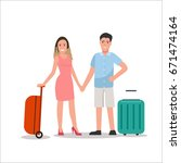 couple traveling flat... | Shutterstock .eps vector #671474164
