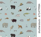 asian animals doodle graphic... | Shutterstock .eps vector #671479984