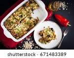 baked rolled oats with courgette | Shutterstock . vector #671483389