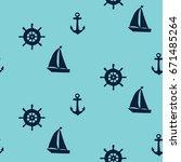 sailing ship. vector seamless... | Shutterstock .eps vector #671485264